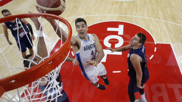 Luis Scola goes to the rim during Argentina's FIBA World Cup quarter-final win over Serbia