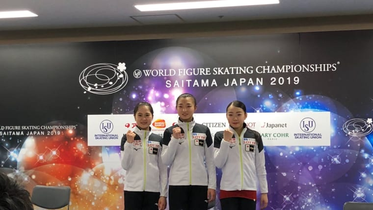 Japan's female skaters pose during a press conference at the Worlds.