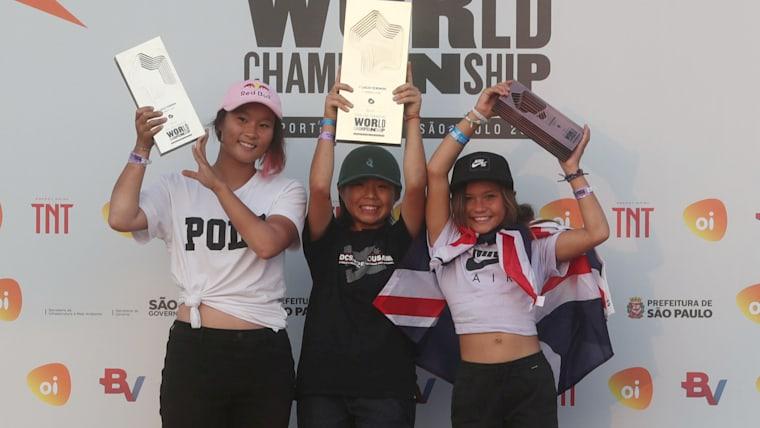 2019 Park Skateboarding World Champs Women's Podium (L-R) runner-up Sakura Yosozumi, winner Misugu Okamoto, third-placed Sky Brown
