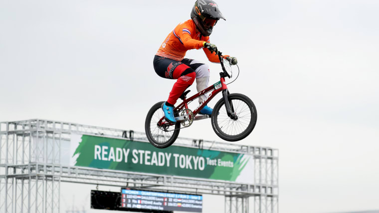 Dutch BMX athlete Laura Smulders during her run at the READY STEADY TOKYO Test Event
