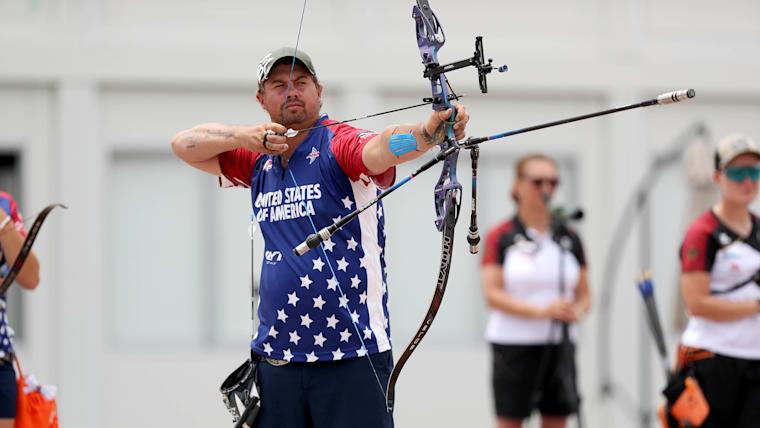 Brady Ellison at the Ready Steady Tokyo Archery Test Event in Yumenoshima Park Archery Field