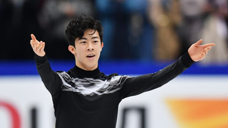 Nathan Chen edged out Vincent Zhou to take the free skate at the World Team Trophy