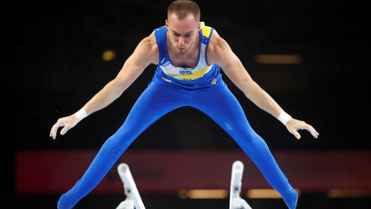 Oleg Verniaiev performs on parallel bars in qualification at the 2019 World Championships (Photo: REUTERS/Wolfgang Rattay)