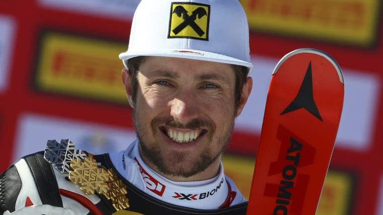 Marcel Hirscher poses with his silver and two gold medals at the 2017 World Championships in St Moritz, Switzerland
