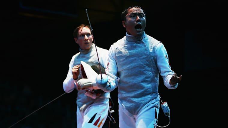 小学3年生の時に太田雄貴氏(手前)と対戦。トップレベルの技を体感して、オリンピック出場の夢が固まった