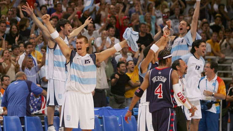 Argentina celebrate after beating Team USA in the semi-finals of the men's basketball at Athens 2004