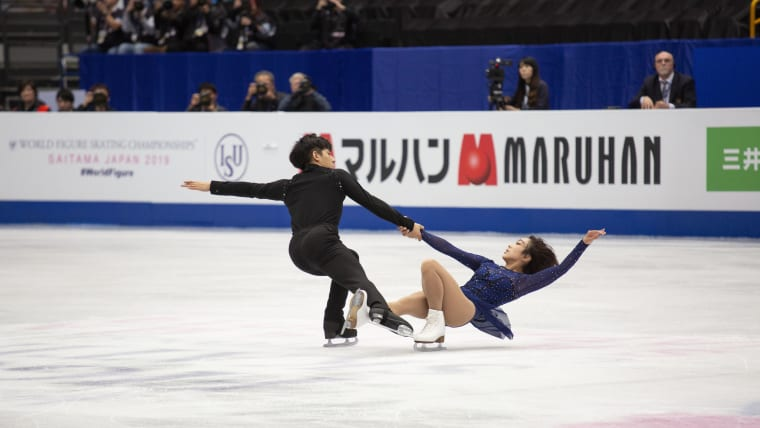 Sui Wenjing and Han Cong during the pairs free skate at the 2019 World Championships in Saitama