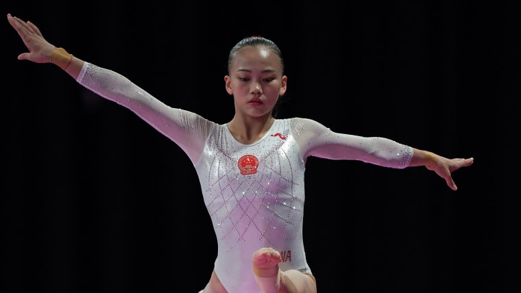 Chen Yile on her way to balance beam victory at the 2018 Asian Games in Jakarta