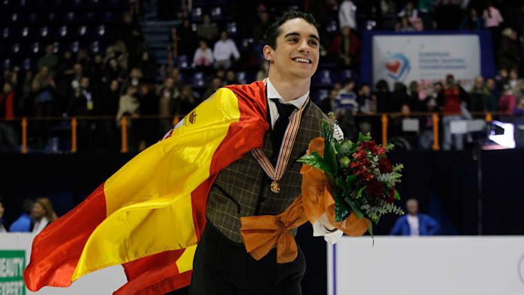 Javier Fernandez celebrates victory at the 2013 European Championships in Zagreb, Croatia