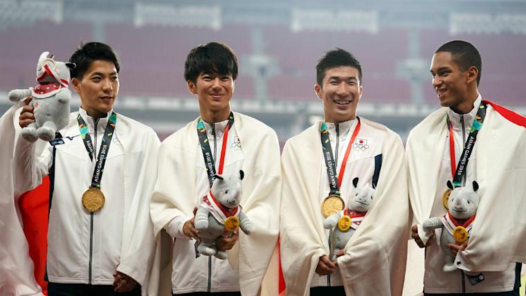 2018年のアジア大会の4×100メートルリレーで金メダルを獲得。左から山縣、多田、桐生。100メートルではライバルとなる