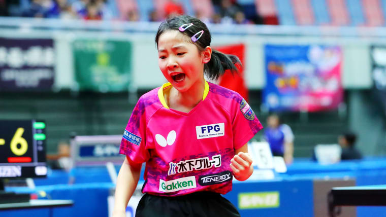 Miwa Harimoto playing in the junior singles at the All Japan Table Tennis Championships in Osaka in January 2019