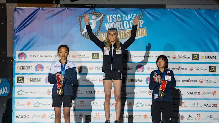 2019 World Cup lead podium in Villars (L-R): runner-up Chaehyun Seo, winner Janja Garnbret, third-placed Ai Mori (photo courtesy of IFSC/Daniel Gajda)