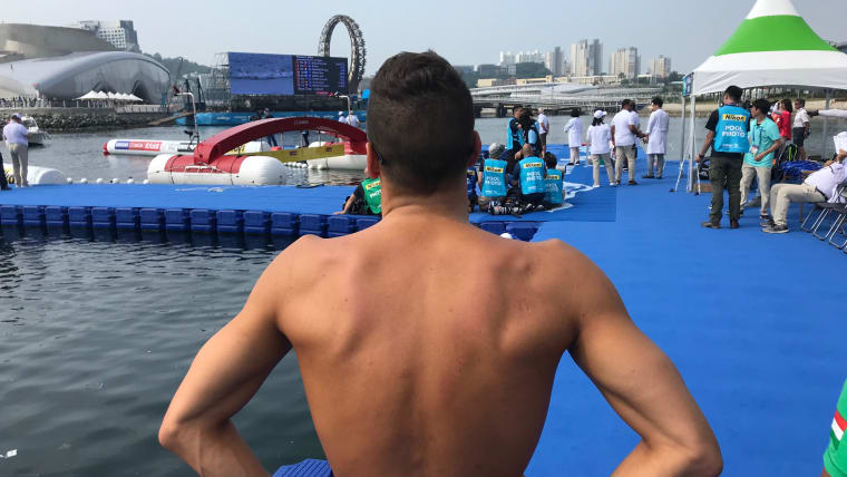 An open water swimmer at the Yeosu Ocean Park finish line