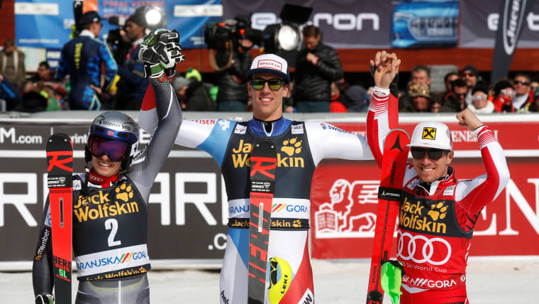 Kranjska Gora slalom podium (L-R): runner-up Henrik Kristoffersen, winner Rene Zenhaeusern, third-placed Marcel Hirscher