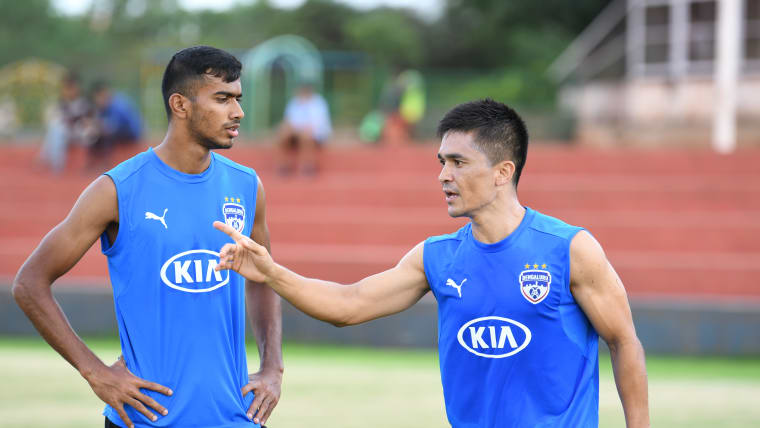 Ashique Kuruniyan says he's learnt a lot about being a professional footballer from the Indian talisman Sunil Chhetri. Image courtesy: BFC Media