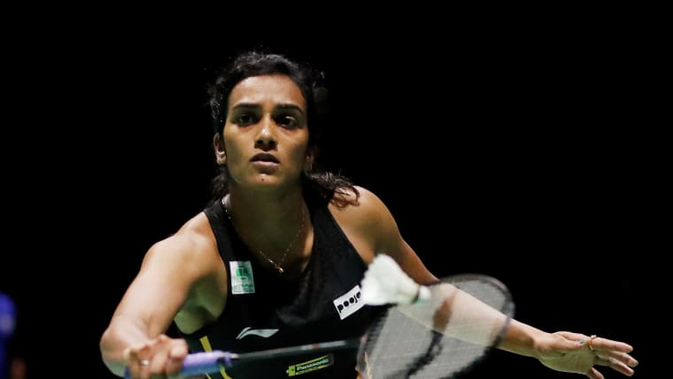 PV Sindhu during her second round win over Pai Yu-Po in the BWF World Championships in Basel, Switzerland