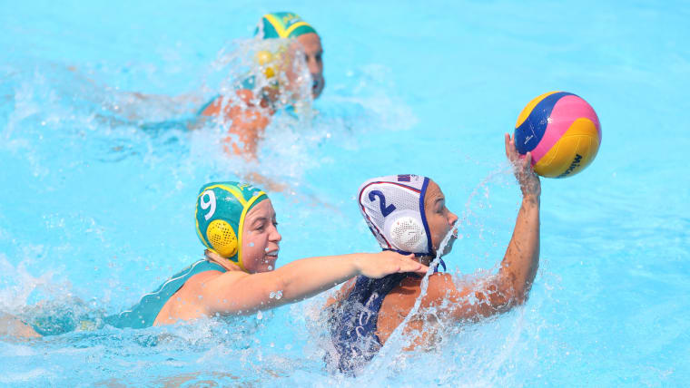 8d43b9bacddd Zoe Arancini of Australia and Maria Bersneva of Russia during the Women's Water  Polo Quarterfinal match between Russia and Australia on day nine of the ...