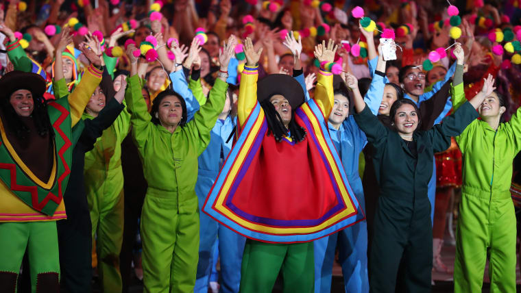 Dancers perform during the closing ceremony of Pan American Games Lima 2019 at Estadio Nacional de Lima on August 11, 2019 in Lima, Peru. (Photo by Leonardo Fernandez/Getty Images)