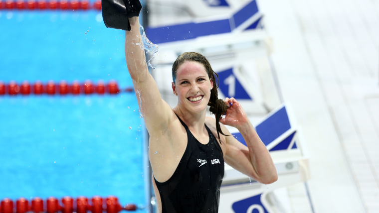 Missy Franklin celebrates at London 2012