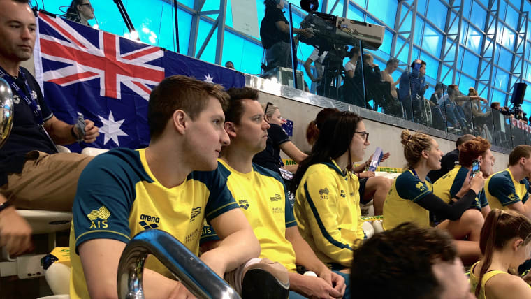 The Australian team cheers on at the London Aquatics Centre. Photo: Olympic Channel