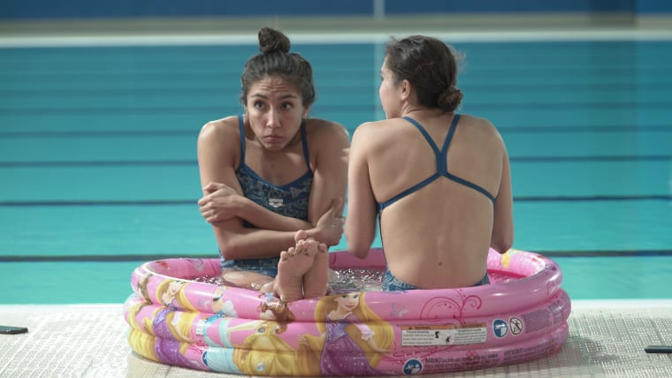 Chillaxing by the pool. Mexico's synchro swim team relaxes their muscles after a training session at Lima 2019. Pic: Olympic Channel