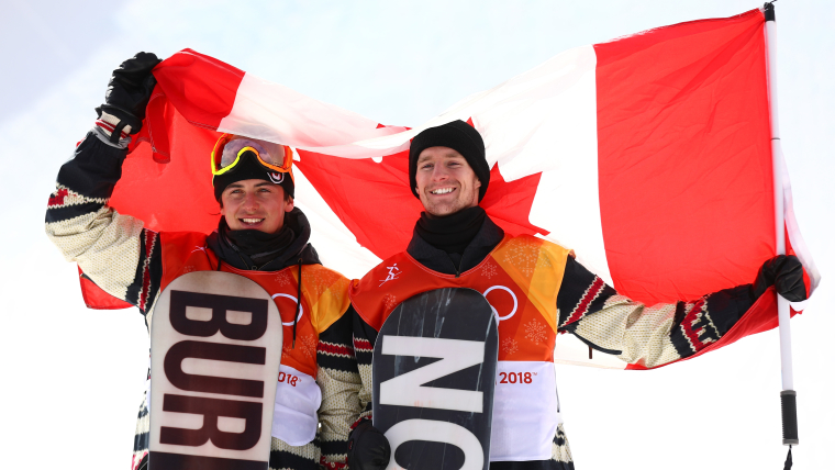 Mark McMorris and Max Parrot celebrate their slopestyle snowboard medals at PyeongChang 2018