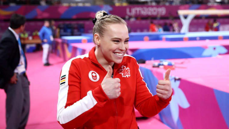 The face you make when you win back-to-back Pan American all-around gold medals. (Photo by Ezra Shaw/Getty Images)