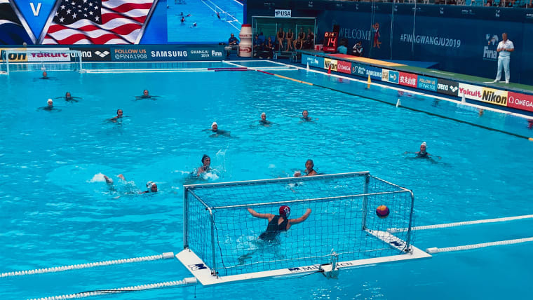 The United States score a late penalty against South Africa