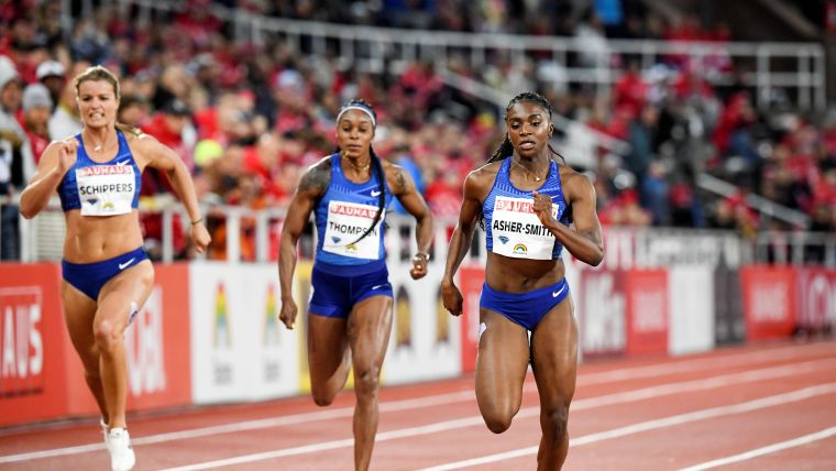 Dina Asher-Smith outpaces Elaine Thompson and Dafne Schippers in the women's 200m race at the Stockhom IAAF Diamond League meeting - May 30, 2019. Fredrik Sandberg /TT News Agency