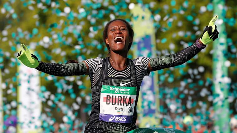 Gelete Burka wins the 2019 Paris Marathon in April