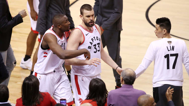 Toronto Raptors' Serge Ibaka (L) and Marc Gasol during Game Five of the NBA Finals