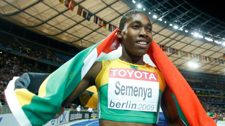 Caster Semenya celebrates after winning gold in the 800m at the 2009 World Championships in Berlin.