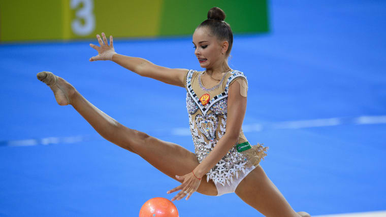 Arina Averina competing in the ball final at the 2017 World Games in Wroclaw, Poland