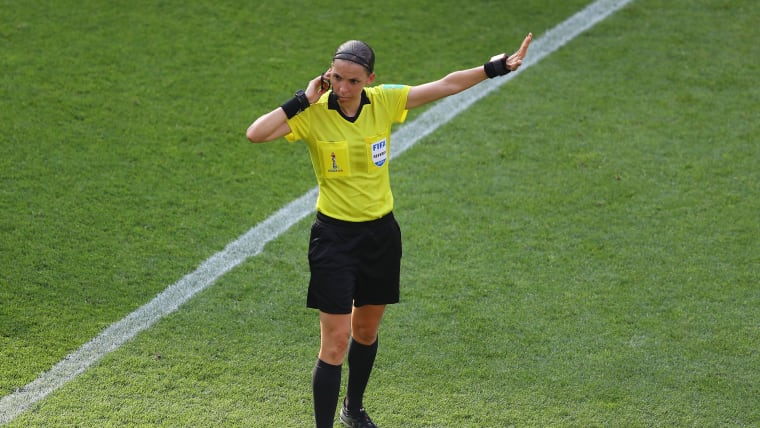 Stephanie Frappart officiating during the 2019 FIFA Women's World Cup in France