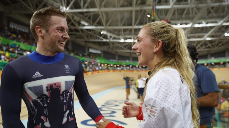 Jason Kenny celebrates with his then-fiancee Laura Trott after taking keirin gold at Rio 2016