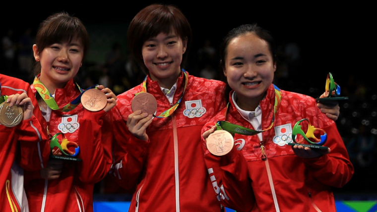 伊藤美誠(右端)は15歳で出場したリオデジャネイロ五輪で銅メダルを獲得している