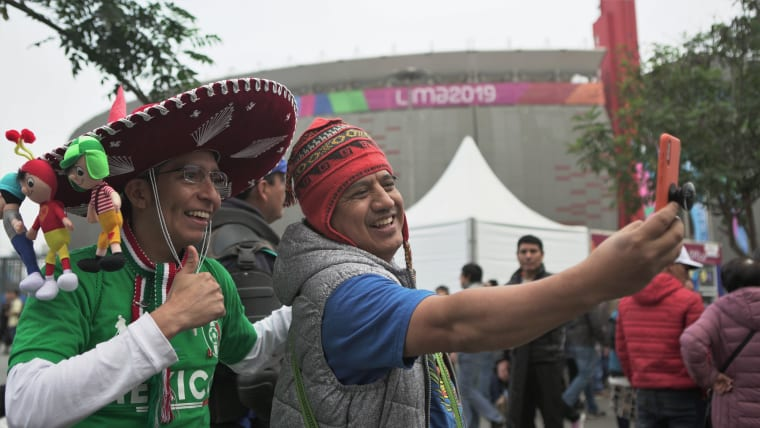 Some fans at the National Stadium of Lima. Pic: Olympic Channel / Nico Muñoz
