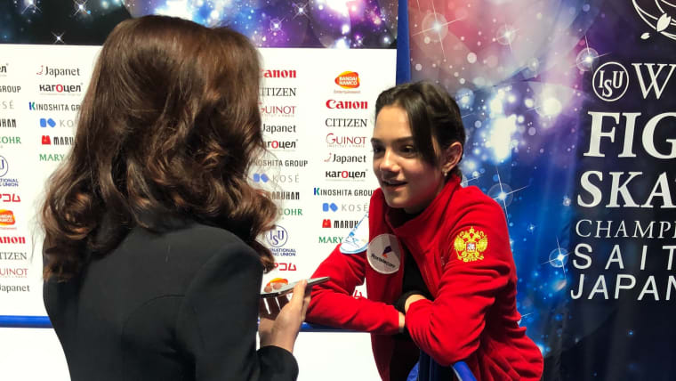 Meryl Davis chats with Evgenia Medvedeva after practice