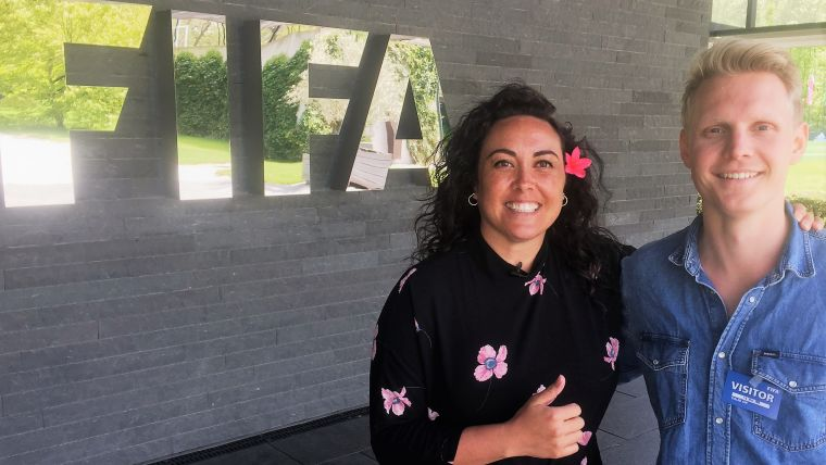 FIFA's Chief Women's Football Officer Sarai Bareman with Olympic Channel reporter Nicklas Vinde