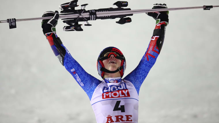Petra Vlhova celebrates victory in the World Championship giant slalom at Are, Sweden