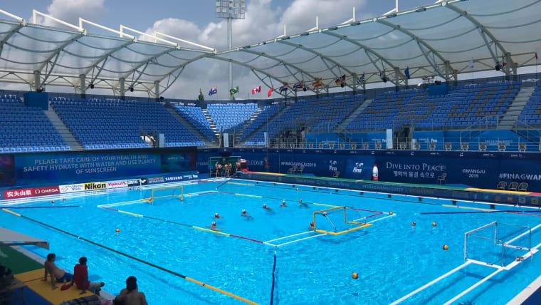Training for the water polo competition at Gwangju 2019