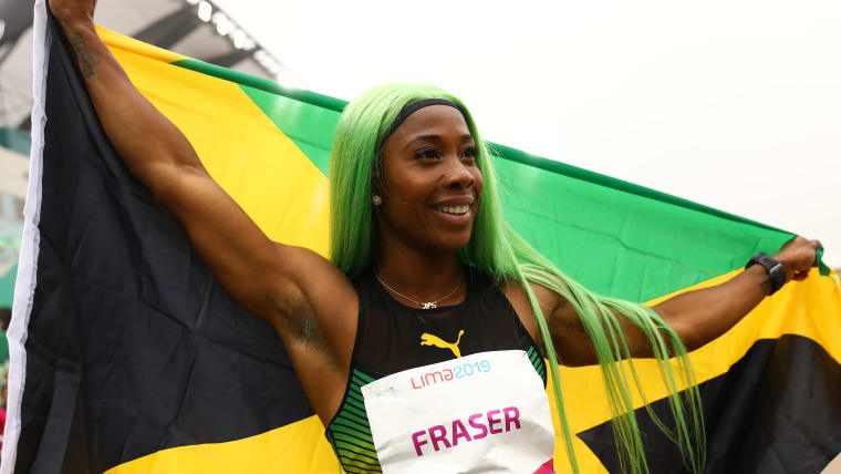 Lima 2019 - Athletics - Women's 200m Final - Athletics Stadium, Lima, Peru - August 9, 2019. Jamaica's Shelly-Ann Fraser-Pryce celebrates her gold medal finish. REUTERS/Henry Romero