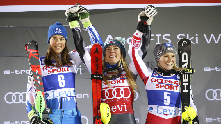 Levi slalom podium (L-R): runner-up Petra Vlhova, winner Mikaela Shiffrin, third-placed Bernadette Schild
