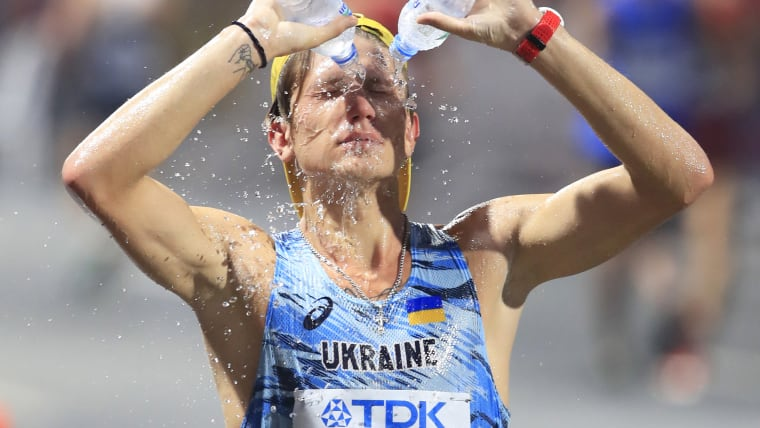 Staying cool in Qatar: Step 1. (Photo by Andy Lyons/Getty Images for IAAF)