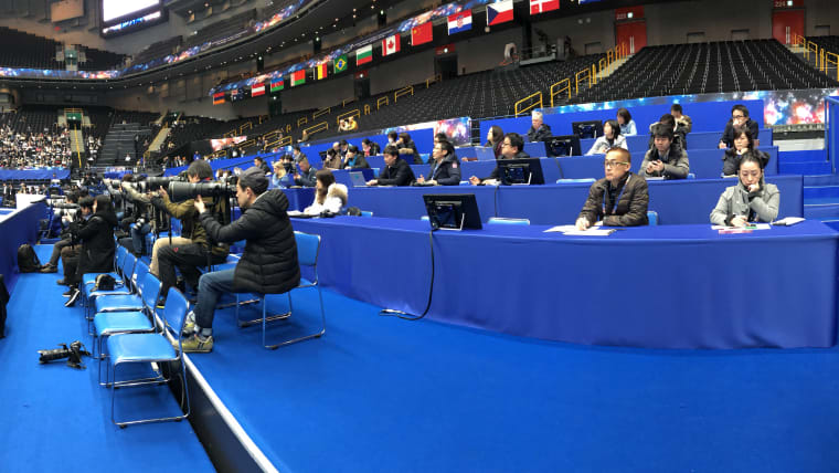 Media watching the Japanese women's training session