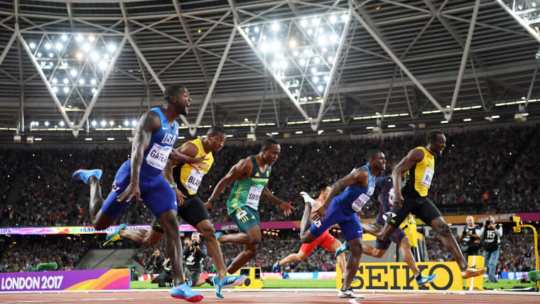 Justin Gatlin (L) wins the 100m at the 2017 London World Championships from Christian Coleman and Usain Bolt