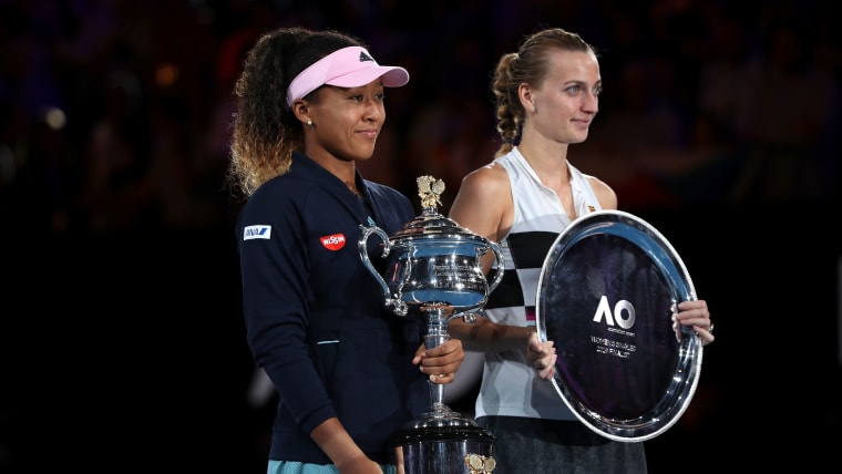 2019 Australian Open champion Naomi Osaka with runner-up Petra Kvitova