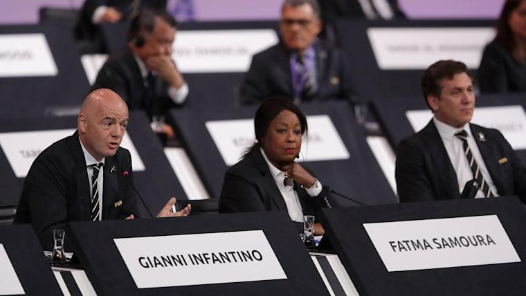 Fatma Samoura (right) at FIFA Congress with FIFA President Gianni Infantino