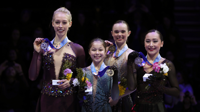 U.S. Figure Skating Championships (L-R): runner-up Bradie Tennell, winner Alysa Liu, third-placed Mariah Bell and fourth-placed Hanna Harrell