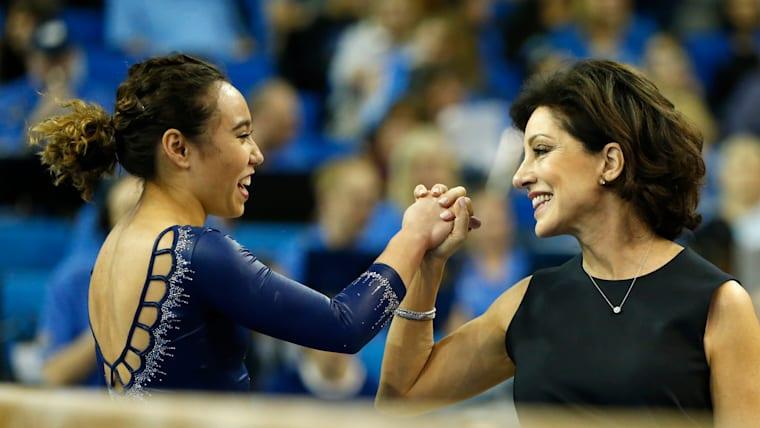 Katelyn Ohashi with UCLA coach Miss Val